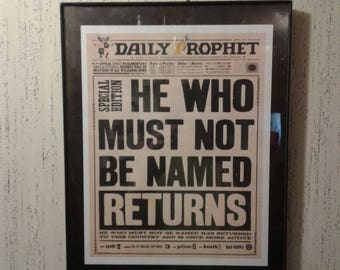 Harry Potter Daily Prophet Newspaper Special Edition Front Page Headline Voldemort Returns He Who Shall Not Be Named Returns