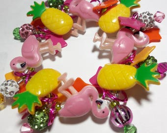 Flamingo bracelet/Pineapple/Beadiebracelet