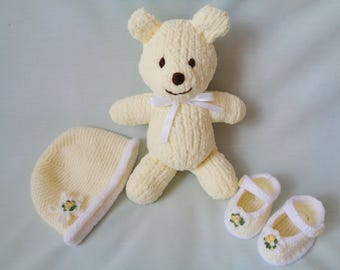 Teddy Bear, Hand Knitted Teddy Bear Set, Baby Mary Jane Shoes, Baby Hat,  Handmade Bear, Newborn baby gift, Baby Girl gift