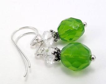 SUMMER SALE Sterling Silver Earrings with Lime Green Czech Glass Beads