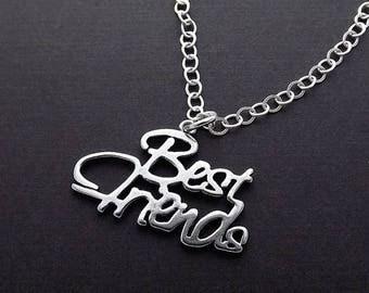 SUMMER SALE Sterling Silver Necklace - Best Friends Script Pendant