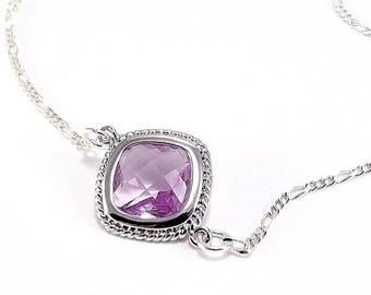 SUMMER SALE Sterling Silver Necklace  - Lavender Diamond Glass Pendant