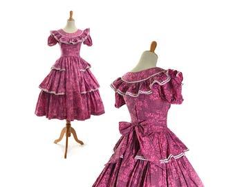 1950s dress, 50s dress, pink dress, patio dress, rockabilly dress, small dress, xs dress,  vintage clothing, vintage dress, floral dress