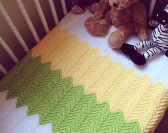 Baby Blanket, Green, Yellow, White Chevrons, Crochet, Pram Blanket, Daisy