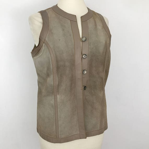 Suede waistcoat vintage vest beige suede leather longline 1970s waist coat 70s hippy boho top leather trim UK 16 festival hippie plus size