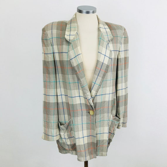Vintage blazer Jaeger jacket linen mix plaid 1980s Annie Hall tailoring 10 12 oversized