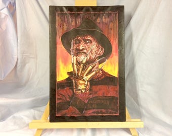 "FREDDY KRUEGER   Hand Painted     A Nightmare On Elm Street    12"" x 16""  Acrylic on Canvas"