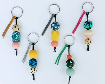 The Keychain to Happiness | Handpainted wooden bead keychain
