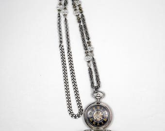 Mechanical Pocket Watch on Byzantine Chainmaile Necklace #11 Swarovski
