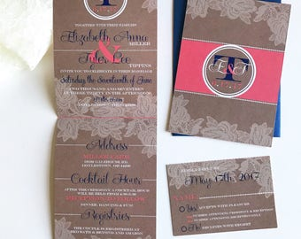 Coral and Navy, lace and Burlap   All-N-One wedding Invitation   Tri-fold with attached RSVP   Deposit to get started