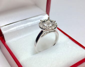 Halo Engagament Ring Setting l 14KT White Gold Diamond Semi Mount Engagement Ring l Engagement Ring Setting l Design Your Own Ring