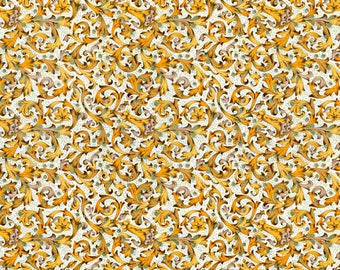Florentina gold yellow - Florentine paper with gold print, Italy
