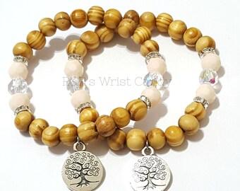 Wood Tree of Life Beaded Bracelet,Boho Bracelet ,Minimalist Handmade Beaded Bracelets Custom Beaded Jewerly