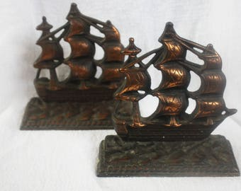 "Vintage Pair USS CONSTITUTION ""Old Ironsides"" Cast Iron Bronze or Copper  Wash Bookends"
