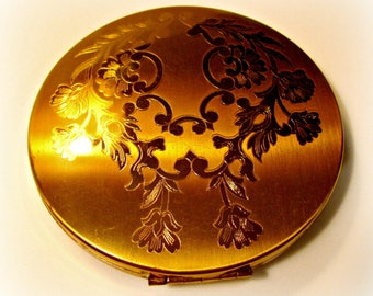 Powder Compact, Elgin American, Brushed Gold, Flowers and Scrolls, Vintage Vanity Collectible,Make Up Accessory