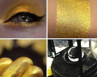 Eyeshadow: Humble Virgin - Nomad. Sunny, yellowish, saffron gold eyeshadow by SIGIL inspired.