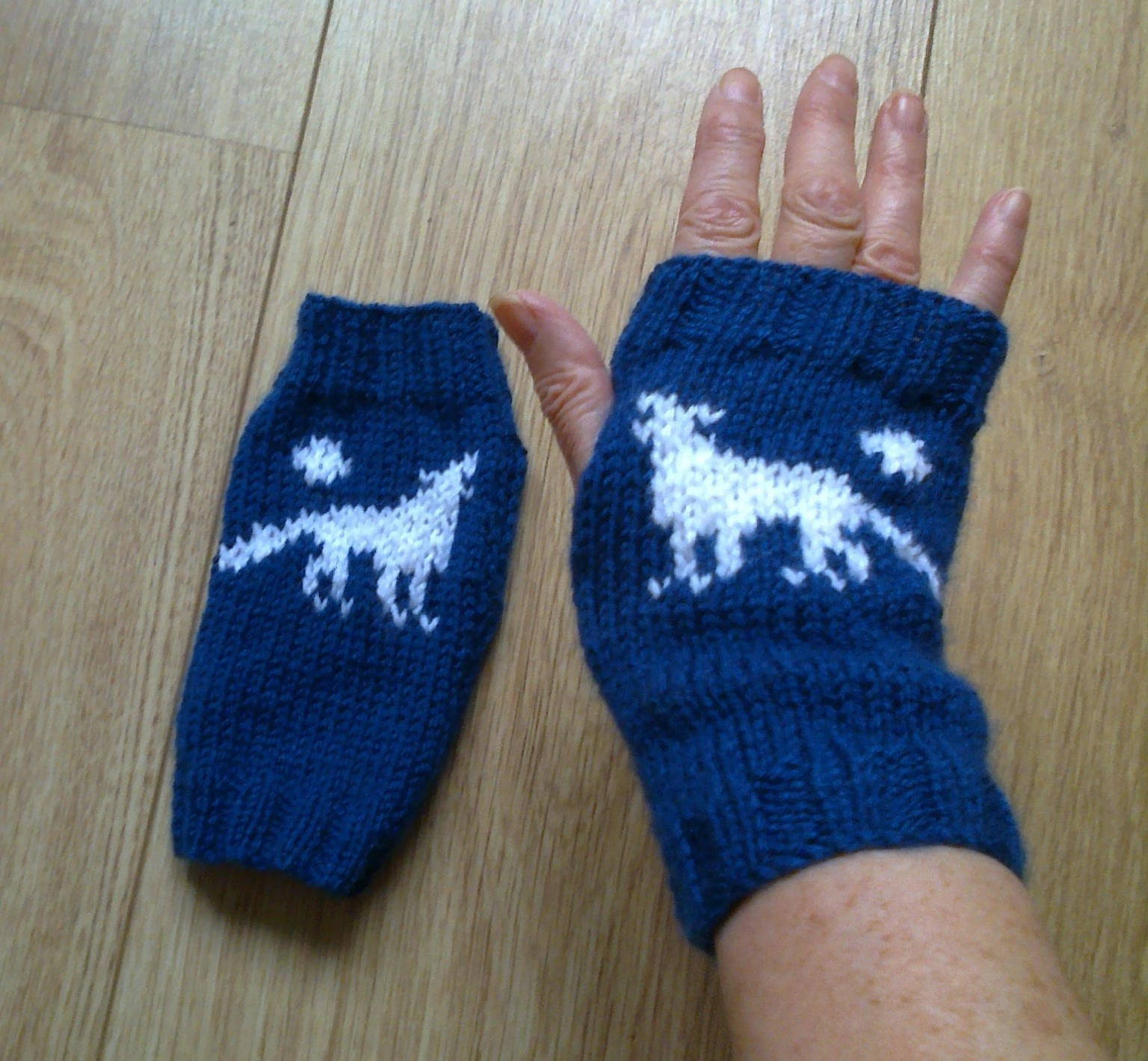 Crochet Gloves With Finger Holes >> Wrist warmers wolf and moon howling wolf dog fingerless