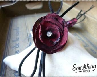 Flower petals, Burgundy, romantic style hair clip