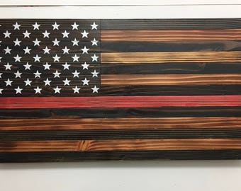 Thin Red Line Wood Flag - American Flag - Rustic Wood American Flag - Wooden American Flag - Distressed Flag - Wood Burnt Flag - Firefighter