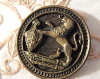Lion with Shield - Stamped Brass Antique Picture Button