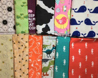 Animals Theme Fabric Pack - Cotton Woven and Flannel