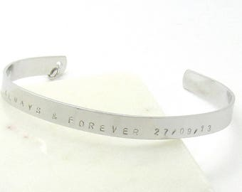 Custom wedding date bracelet - personalized anniversary gift- wife gift- date bangle- date jewelry- silver anniversary gift engagement gift