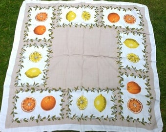 Oranges and lemons Irish printed Dunmoy tablecloth vintage
