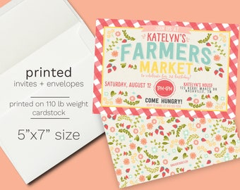 Farmers Market Birthday Invitation - Printed -  As seen on Kara's Party Ideas! - Summer Party Strawberry Birthday Floral Farm Invite Party