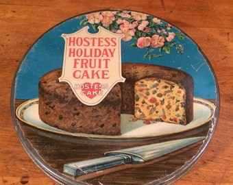 Rare- 1920's Lithographed Hostess Holiday fruitcake tin- UBC