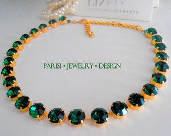 Emerald Swarovski Necklace / Statement / Tennis Collet Necklace / Crystal Green Choker /  SS47 Gold Cupchain / Georgian / Birthday gift
