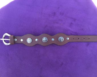 Brown Leather Cuff with Crosses and a buckle