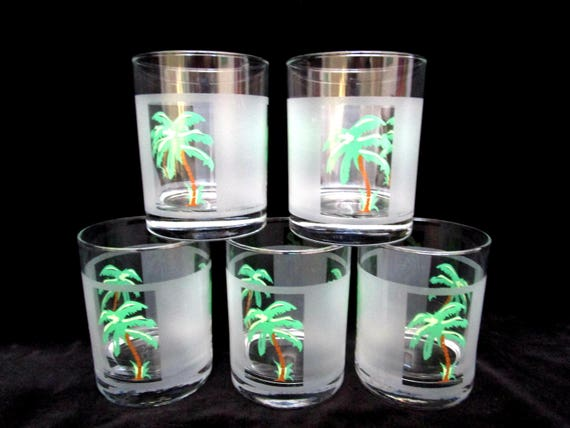 Culver Barware, Set of 5 Lowballs, Vintage Barware, Tropical Palm Trees, Frosted Panels with Palm Trees, Marked Culver USA