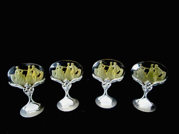 Antique Intaglio Place Card Holders, Set of 4, Art Deco, Czechoslovakia Czech Crystal, Amber, Elegant Fine Dining, 2 Sets Avail