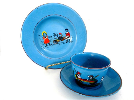 Childs Enamelware Plate, Cup and Saucer, Childs Dinnerware Set, Wheelbarrow and Playing Games, Teal Green Enamelware, Made in Germany, 1930s