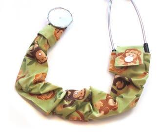 "Stethoscope Cover | 23"" long Sleeve | Pediatric Stethoscope Cover | Veterinary Stethoscope Cover | Jungle Monkeys | Handmade"