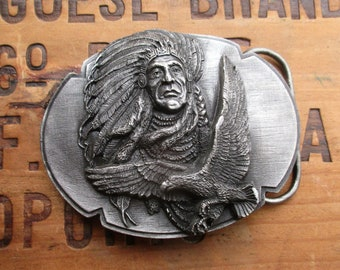 Siskiyou Buckle Company Chief Joseph and Eagle 1989 Belt Buckle