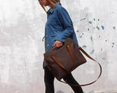 Leather crossbody, leather bag, brown leather bag,crossbody handbag, handmade leather bag, women handbag, for her, leather tote bag
