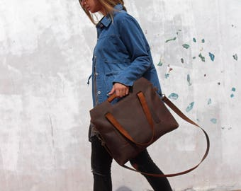 HUGE SALE, brown leather bag, leather crossbody, crossbody handbag, leather tote, brown leather tote, tote with zipper, valentine's gift