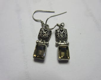 Sterling Silver 925 Smokey Quartz Earrings
