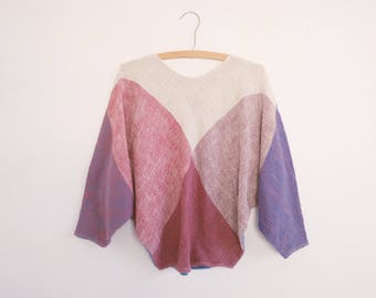 Color Block Sweater // 80's 90's Fashion
