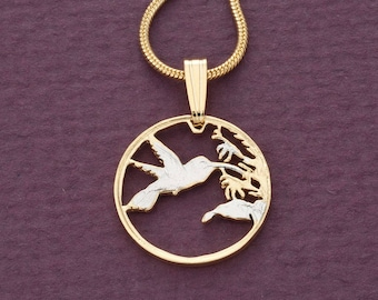 Hummingbird Pendant & Necklace, Trinidad One Cent Hand Cut, ( # 298 )
