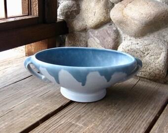 Roseville Pottery Carnelian Console Bowl, Antique Arts & Crafts Pottery, Vintage 1910s, Matte Blue Glaze, FREE SHIPPING