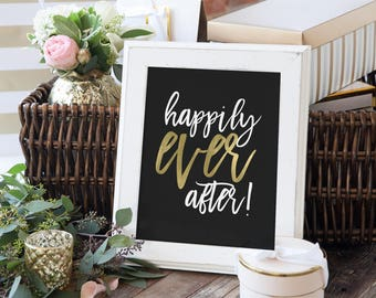 """Black and Gold - """"Happily Ever After"""" - Wedding Signage - Wedding Fairy Tale Sign - The Penny Set"""