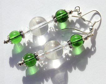 """Earrings Silver earrings with green and transparent glass beads: """"The dream catcher-light"""" - green"""