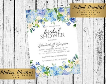 Blue Floral  Invitation. Blue Watercolor Baptism, Christening, Dedication ,First Communion, INSTANT DOWNLOAD, print yourself