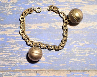1943 WWII USO Basketball Tournament Charm Bracelet Gold Filled Basketballs March Madness