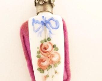 La Castillere Oberon Paris Hand Painted Milk Glass Miniature Perfume Bottle