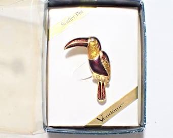 Vendome Enamel Toucan Bird Figural Brooch New Old Stock In Original Display Box
