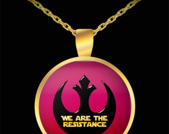 Star Wars We Are the Resistance Gift Necklace Resist Nerd Rebel (Choice of Metal)