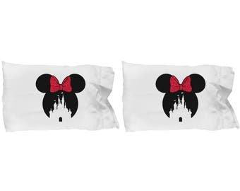 Magic Castle Mouse Gift Pillow Cases Red Bow Love Fan Fanatic Magical Couple Love Set